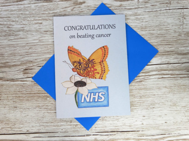 Custom corporate congratulations card for businesses with bespoke hand drawn butterfly for NHS on beating cancer in bulk